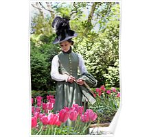 A Colonial Lady in Her Garden Poster