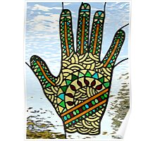 """Stained Glass """"Mehndi Hand"""" (rendition) Poster"""