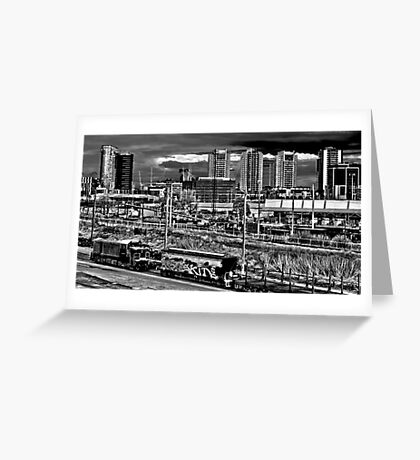 Skyscraper vs Railway Greeting Card