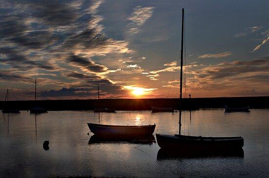 Sunset over Burnham Overy Staithe, Norfolk, UK by Richard Flint