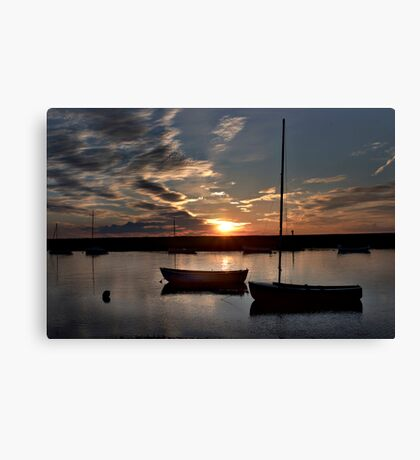 Sunset over Burnham Overy Staithe, Norfolk, UK Canvas Print
