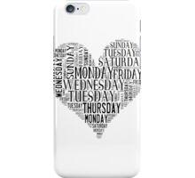 7 DAYS OF SUMMER- –TEXT LOVE HEART BLACK iPhone Case/Skin