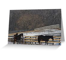 Horses in Snowy Pasture Greeting Card