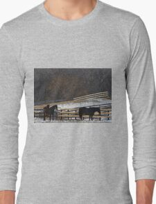Horses in Snowy Pasture Long Sleeve T-Shirt