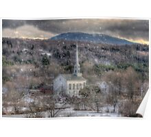 White Church in Vermont Poster