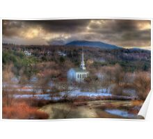 White Church in Vermont - Stowe Poster