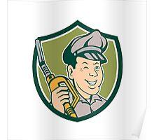 Gas Attendant Nozzle Winking Shield Cartoon Poster