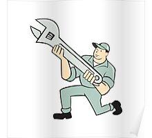 Mechanic Kneeling Holding Spanner Wrench Cartoon Poster