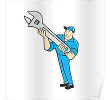 Mechanic Presenting Spanner Wrench Cartoon Poster
