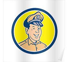Policeman Winking Smiling Circle Cartoon Poster