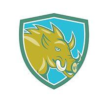 Razorback Head Charge Shield Cartoon by patrimonio