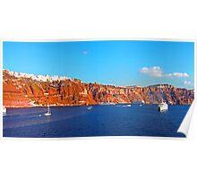 Santorini Cliffs Poster