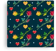Roses and hearts on a dark background Canvas Print