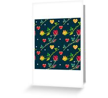 Roses and hearts on a dark background Greeting Card