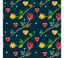 Roses and hearts on a dark background Photographic Print
