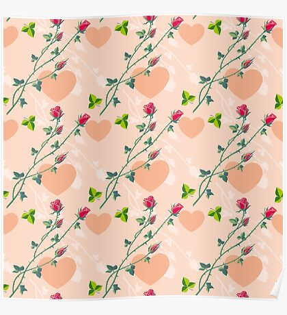 Roses on a pink background Poster