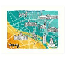 Leipzig Map: Buildings Edition Art Print
