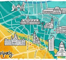 Leipzig Map: Buildings Edition by mariabluelines