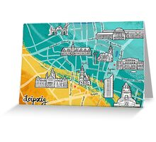 Leipzig Map: Buildings Edition Greeting Card