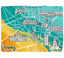 Leipzig Map: Buildings Edition Photographic Print