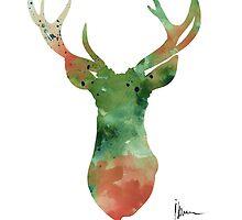 Deer head watercolor large poster by Joanna Szmerdt