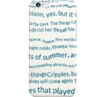 A Song of ice and fire quotes iPhone Case/Skin