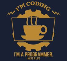 programmer : I'm coding. I am a programmer - Gold by dmcloth