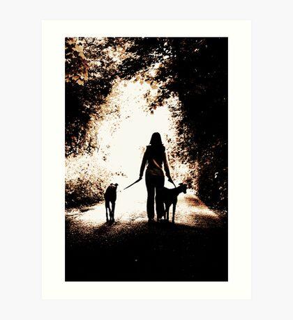 A Girl and Her Greyhounds Art Print