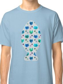 Watercolor Cat Heads - shades of blue & green on slate grey Classic T-Shirt