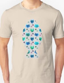 Watercolor Cat Heads - shades of blue & green on slate grey Unisex T-Shirt