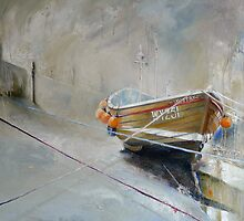 Sun Trying to Breakthrough, Staithes by Sue Nichol