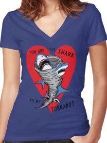Shark To My Tornado Women's Fitted V-Neck T-Shirt