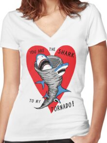 Shark To My Tornado Women's Fitted V-Neck T-Shirt