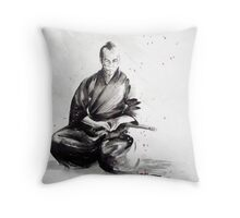 Samurai sign, japanese warrior ink drawing, mens gift idea large poster Throw Pillow
