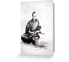 Samurai sign, japanese warrior ink drawing, mens gift idea large poster Greeting Card