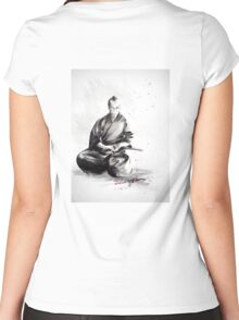 Samurai sign, japanese warrior ink drawing, mens gift idea large poster Women's Fitted Scoop T-Shirt