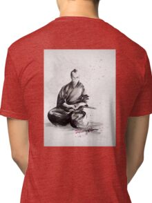 Samurai sign, japanese warrior ink drawing, mens gift idea large poster Tri-blend T-Shirt