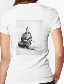Samurai sign, japanese warrior ink drawing, mens gift idea large poster Womens Fitted T-Shirt