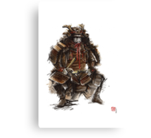 Samurai armor, japanese warrior old armor, samurai portrait, japanese ilustration art print Canvas Print