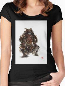 Samurai armor, japanese warrior old armor, samurai portrait, japanese ilustration art print Women's Fitted Scoop T-Shirt