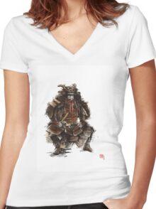 Samurai armor, japanese warrior old armor, samurai portrait, japanese ilustration art print Women's Fitted V-Neck T-Shirt