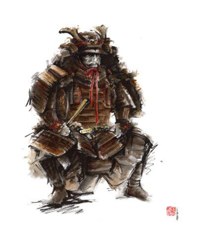Samurai armor, japanese warrior old armor, samurai portrait, japanese ilustration art print Sticker