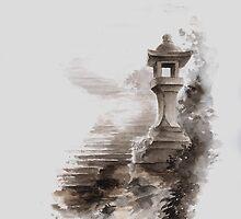 Japanese lantern ink painting, mens gift idea, japan landscape painting by Mariusz Szmerdt