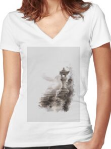 Japanese lantern ink painting, mens gift idea, japan landscape painting Women's Fitted V-Neck T-Shirt