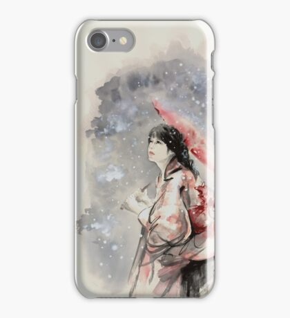 Geisha sign room decoration, japanese woman wall print, geisha figurine large poster iPhone Case/Skin