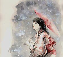 Geisha sign room decoration, japanese woman wall print, geisha figurine large poster by Mariusz Szmerdt