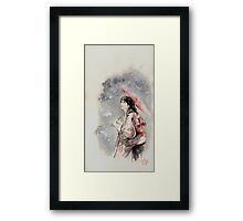 Geisha sign room decoration, japanese woman wall print, geisha figurine large poster Framed Print