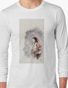 Geisha sign room decoration, japanese woman wall print, geisha figurine large poster Long Sleeve T-Shirt
