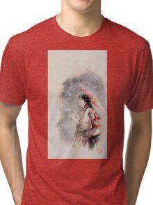 Geisha sign room decoration, japanese woman wall print, geisha figurine large poster Tri-blend T-Shirt