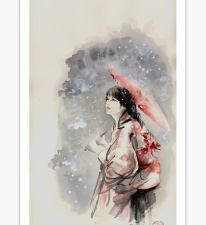 Geisha sign room decoration, japanese woman wall print, geisha figurine large poster Sticker